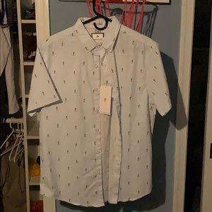 Button Up pineapple shirt men's L